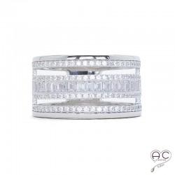 Bague anneaux multiples sertie zirconium blanc argent 925 rhodié