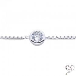 Bracelet avec solitaire en zirconium brillant serti clos sur une chaîne, argent 925 rhodié, fin, femme