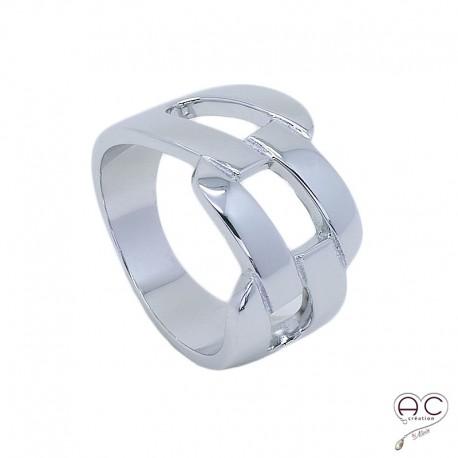 Bague anneau argent 925 rhodié