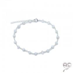 Bracelet fin avec pierre de lune, pierre semi-précieuse sur une chaîne en argent 925, création by Alicia