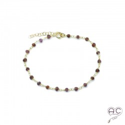 Bracelet pierre semi-précieuse grenat et plaqué or, création