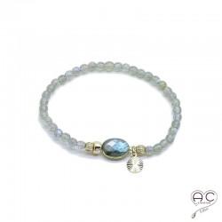 Bracelet labradorite pierres semi-précieuses, pampille plaqué or, élastique, femme, bohème, gipsy, création