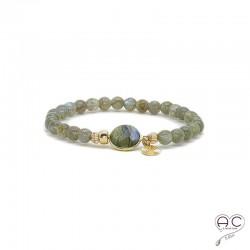 Bracelet pierres semi-précieuses labradorite, pampille plaqué or, élastique, femme, création