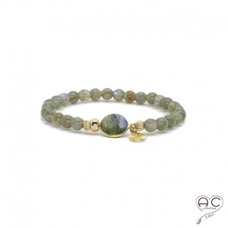 Bracelet pierres semi-précieuses plaque or labradorite