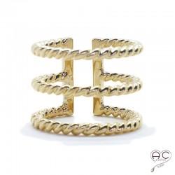 Bague anneaux multiples torsadés large ouverte plaqué or