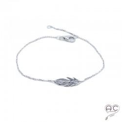 Bracelet plume argent 925 rhodié