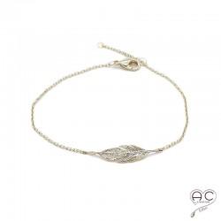 Bracelet plume plaque or