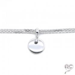 Bracelet pampille ronde trois chaînettes argent 925 rhodié zirconium blanc