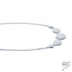 Collier médaills multiples ronde ras du cou argent 925 rhodié