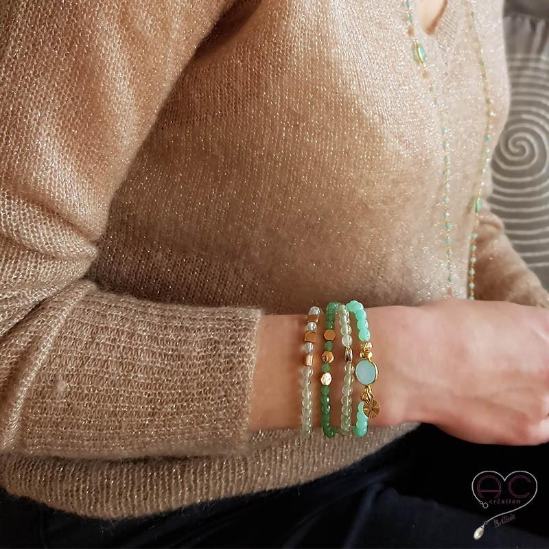 bracelet pierres fines verte or pr hnite femme semi. Black Bedroom Furniture Sets. Home Design Ideas