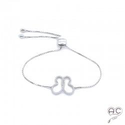 Bracelet avec papillon sertie de zirconium brillant, argent 925 rhodié, réglable, fermoir noeud coulissant, femme