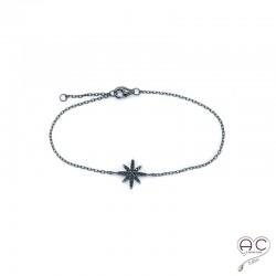 Bracelet avec étoile sertie de zirconium noir en argent 925 rhodié noir, fin, femme