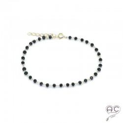 Bracelet pierre semi-précieuse spinelle noire et plaqué or, création