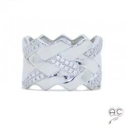 Bague anneau tressé large serti de zirconium brillant blanc en argent 925 rhodié, femme