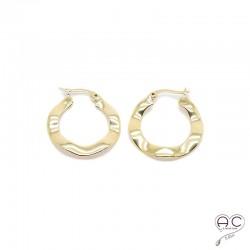 Boucles d'oreilles créoles vagues en plaqué or, femme