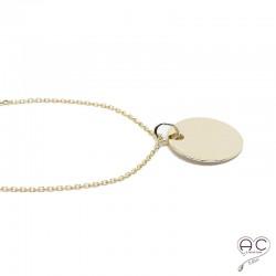 Collier médaille ronde plaqué or