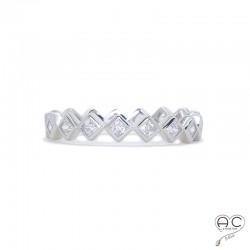 Bague anneau fin, empilable, argent 925 rhodié, serti de zirconium brillant blanc tour complet, femme