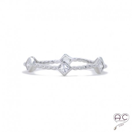 Bague anneau fin, empilable, argent 925 rhodié, serti de zirconium blanc