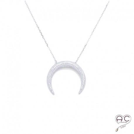 Collier croissant de lune ras du cou serti zirconium argent 925 rhodié