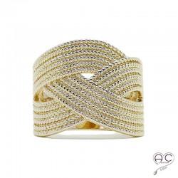 Bague anneau large tressé en plaqué or, femme