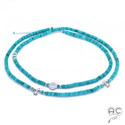 Sautoir - Collier double rang turquoise aux inspirations Aztèques, pierre semi-précieuse et argent 925, création