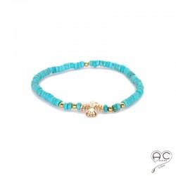 Bracelet turquoise avec aigle d'inspirations Aztèques, plaqué or