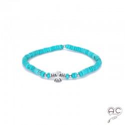 Bracelet turquoise reconstituée avec aigle d'inspirations Aztèques, argent 925, création by Alicia