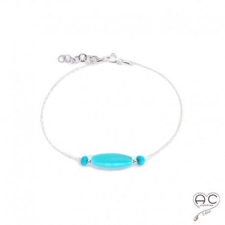 Bracelet turquoise, pierres naturelles sur une chaîne en argent 925 rhodié
