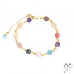 Bracelet pierres naturelles multicouleurs, agate drusy et argent 925 doré à l'or fin 18K, femme