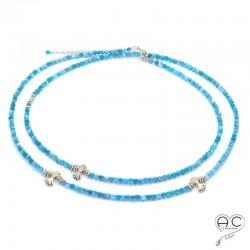 Sautoir - Collier double rang bleu en apatite aux inspirations Aztèques, pierre semi-précieuse et plaqué or, création