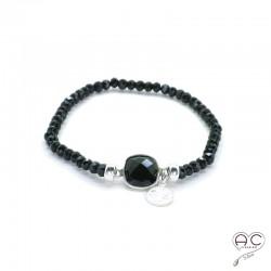 Bracelet onyx et spinelle noir, pampille argent 925, pierres semi-précieuses, femme, bohème, création by Alicia