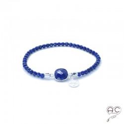 Bracelet lapis lazuli pierre semi-précieuse, pampille argent 925, femme, bohème, création by Alicia