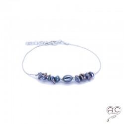 Bracelet perle d'eau douce et perles de keshi gris irisée sur une chaîne en argent 925 rhodié