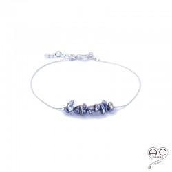 Bracelet perles d'eau douce de keshi gris irisée sur une chaîne en argent 925 rhodié