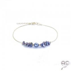 Bracelet perle d'eau douce et perles de keshi gris irisée sur une chaîne en plaqué or, création