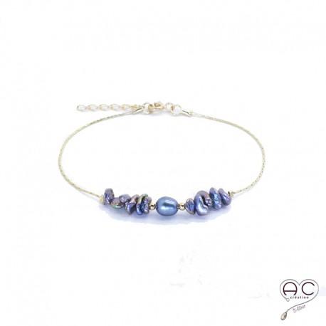 Bracelet perle d'eau douce et perles de keshi gris irisée sur une chaîne en plaqué or