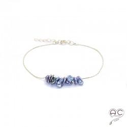 Bracelet perles d'eau douce de keshi gris irisée sur une chaîne en plaqué or