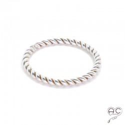 Bague anneau fin torsadé en argent 925, empilable, femme