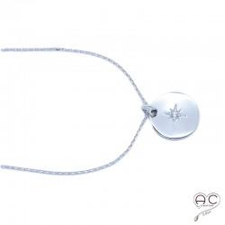 Médaille ronde avec étoile gravée sertie de zirconium brillant en argent 925 rhodié, tendance, bohème