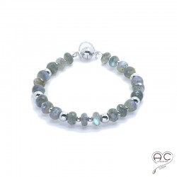 Bracelet pierre naturelle labradorite, argent 925 rhodié, gipsy, bohème, création