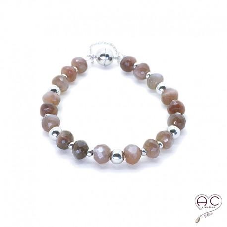Bracelet pierre naturelle andalousite, argent 925 rhodié, gipsy, bohème, création