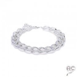 Bracelet maillons sertie de zirconium en argent 925 rhodié, souple, joaillerie