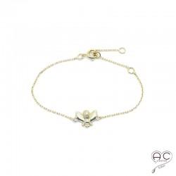 Bracelet avec abeille sur une chaîne en plaqué or, fin, femme