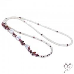 Sautoir perles d'eau douce et pierre semi-précieuse, tourmaline et grenat, création by Alicia