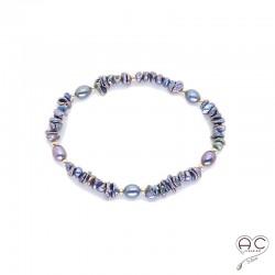 Bracelet perle d'eau douce et perles de keshi gris irisée, plaqué or, création by Alicia